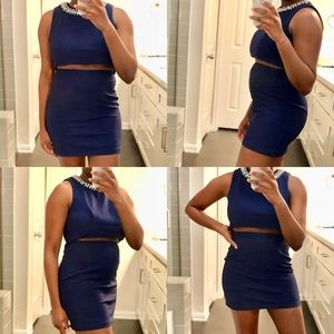 Navy 2 Piece Mini Skirt Set w/Beaded Neckline
